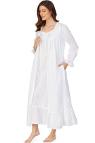 White Pearl Gown & Button Front Robe Set