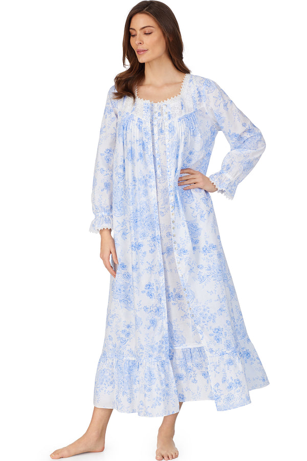 Blue Danube Gown & Button Front Robe Set