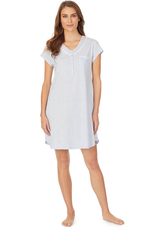 Blue Ground with White Cap Sleeve Sleepshirt