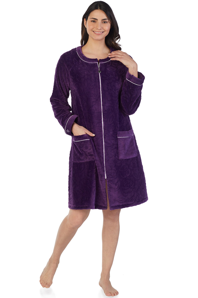 Sculpted Rose Zip Robe, Plum