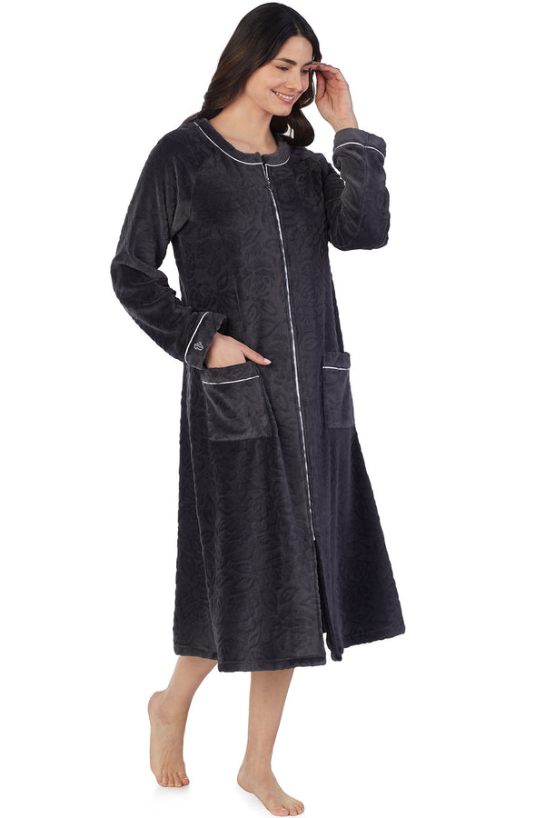 SCULPTED ROSE ZIP ROBE-CHARCOAL