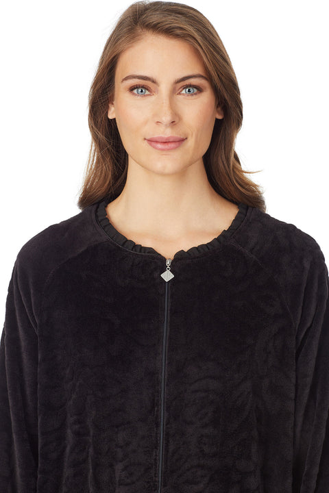 Sculpted Rose Zip Robe, Black