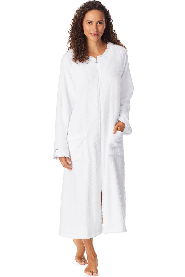 Sculpted Rose Zip Robe, White