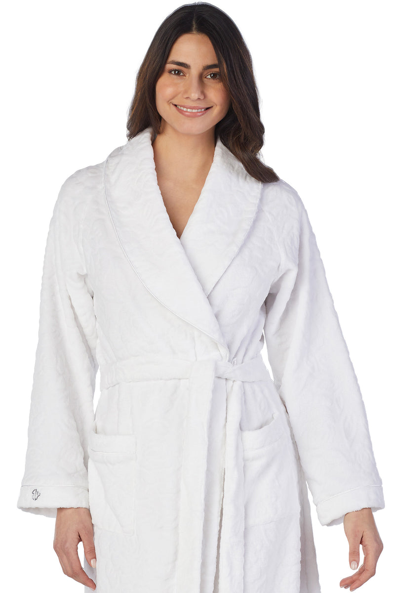 SCULPTED ROSE WRAP ROBE-WHITE