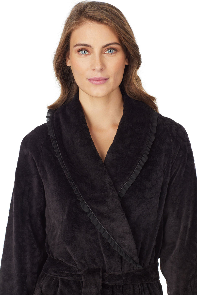 Sculpted Rose Wrap Robe, Black