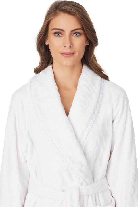 Sculpted Rose Wrap Robe, White