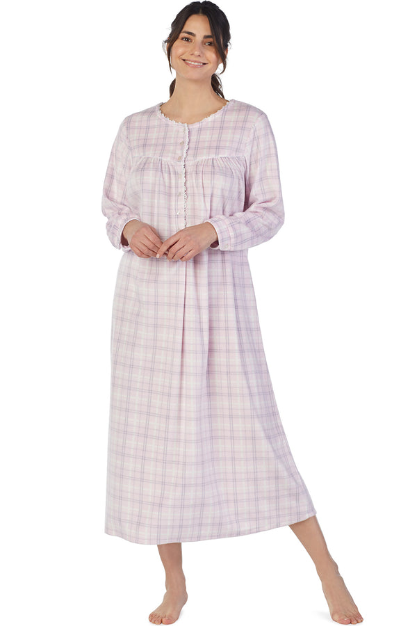 Pastel Plaid Microfleece Gown