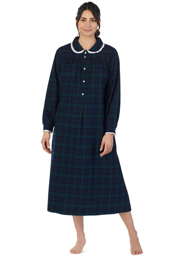 Black Watch Plaid Flannel Gown