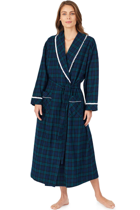 Black Watch Plaid Flannel Robe
