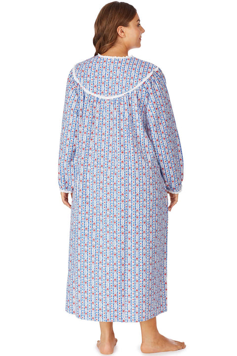 Tyrolean Stripe Flannel Gown, Plus