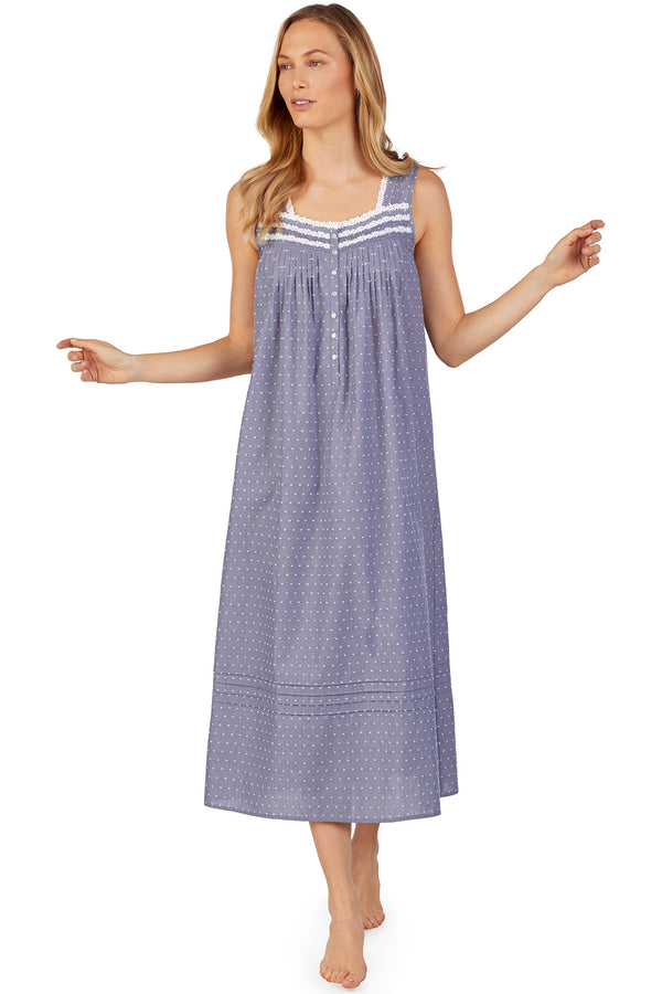 Slate Chambray Swiss Dot Gown