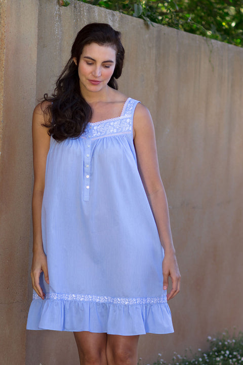 Embroidered Chambray Chemise