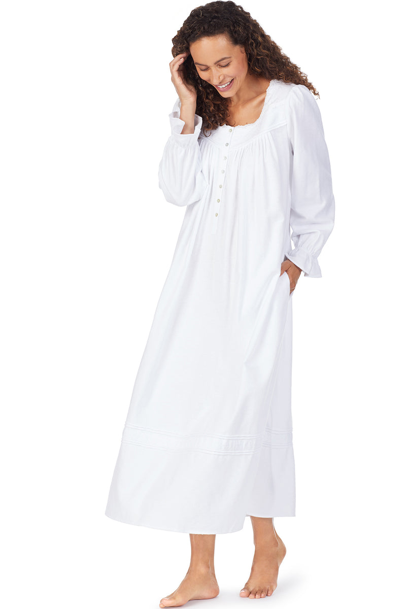 Embroidered Filigree Flannel Gown, White