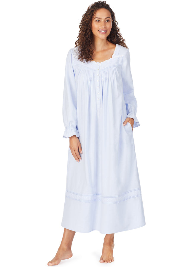 Embroidered Filigree Flannel Gown, Light Blue