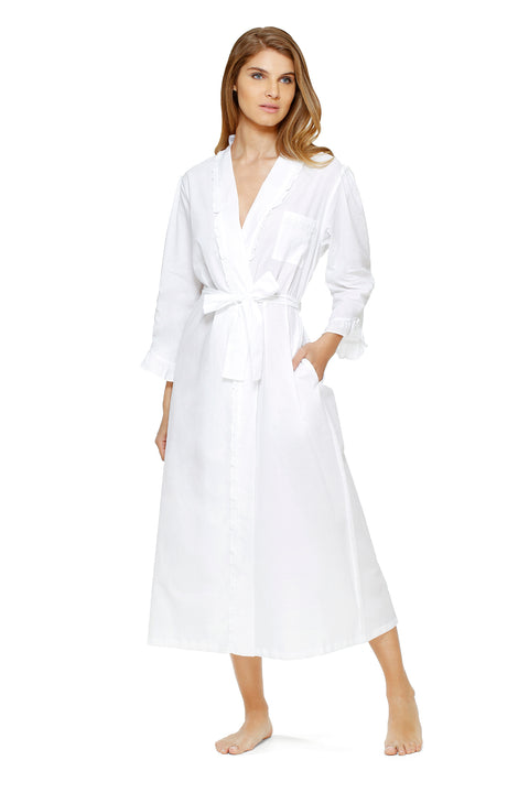 Classic White Cotton Long Wrap Robe