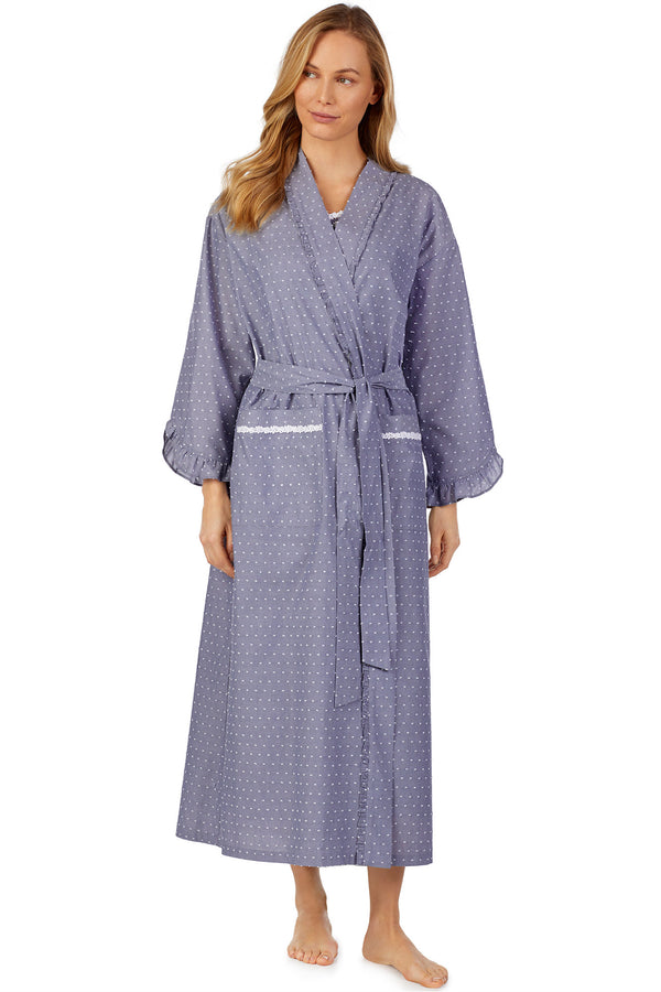 Slate Chambray Swiss Dot Robe