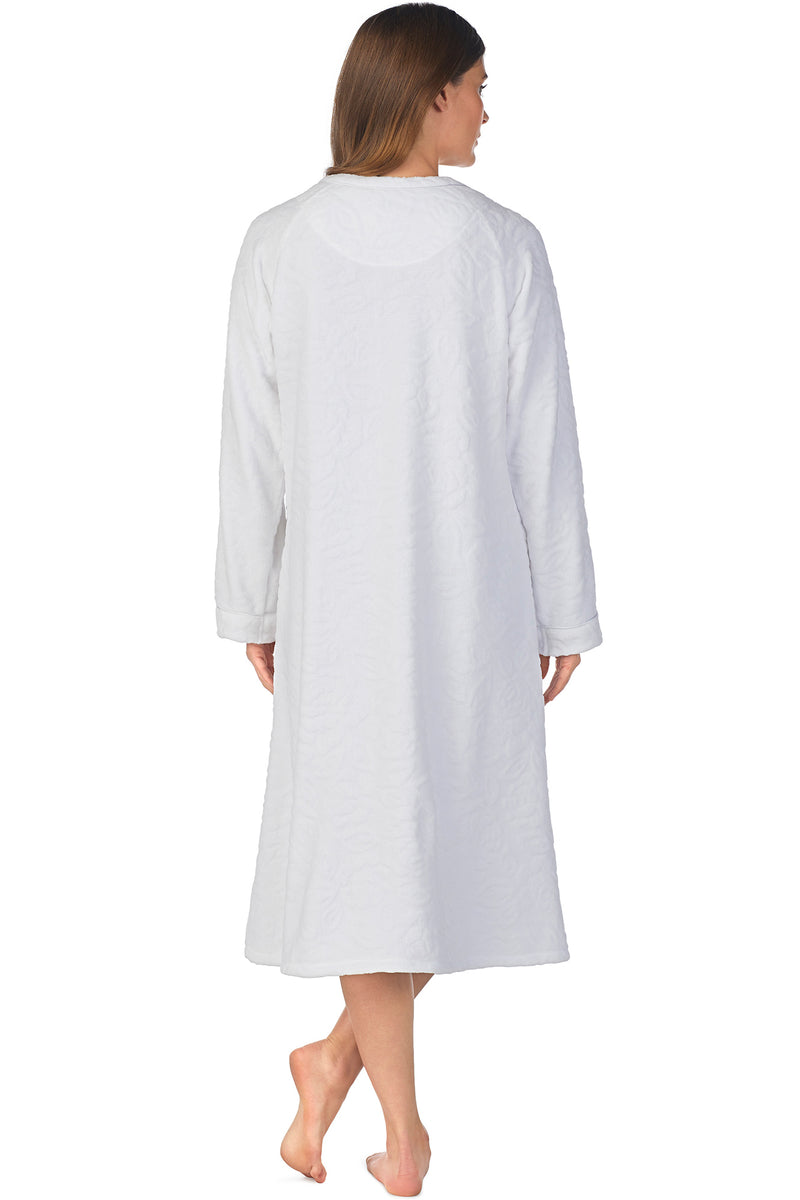 SCULPTED ROSE ZIP ROBE-WHITE