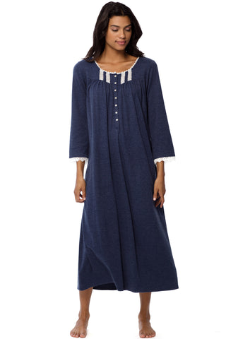 Heather Blue Long Sleeve Gown