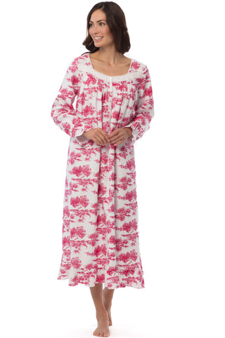 Holiday Toile Flannel Gown