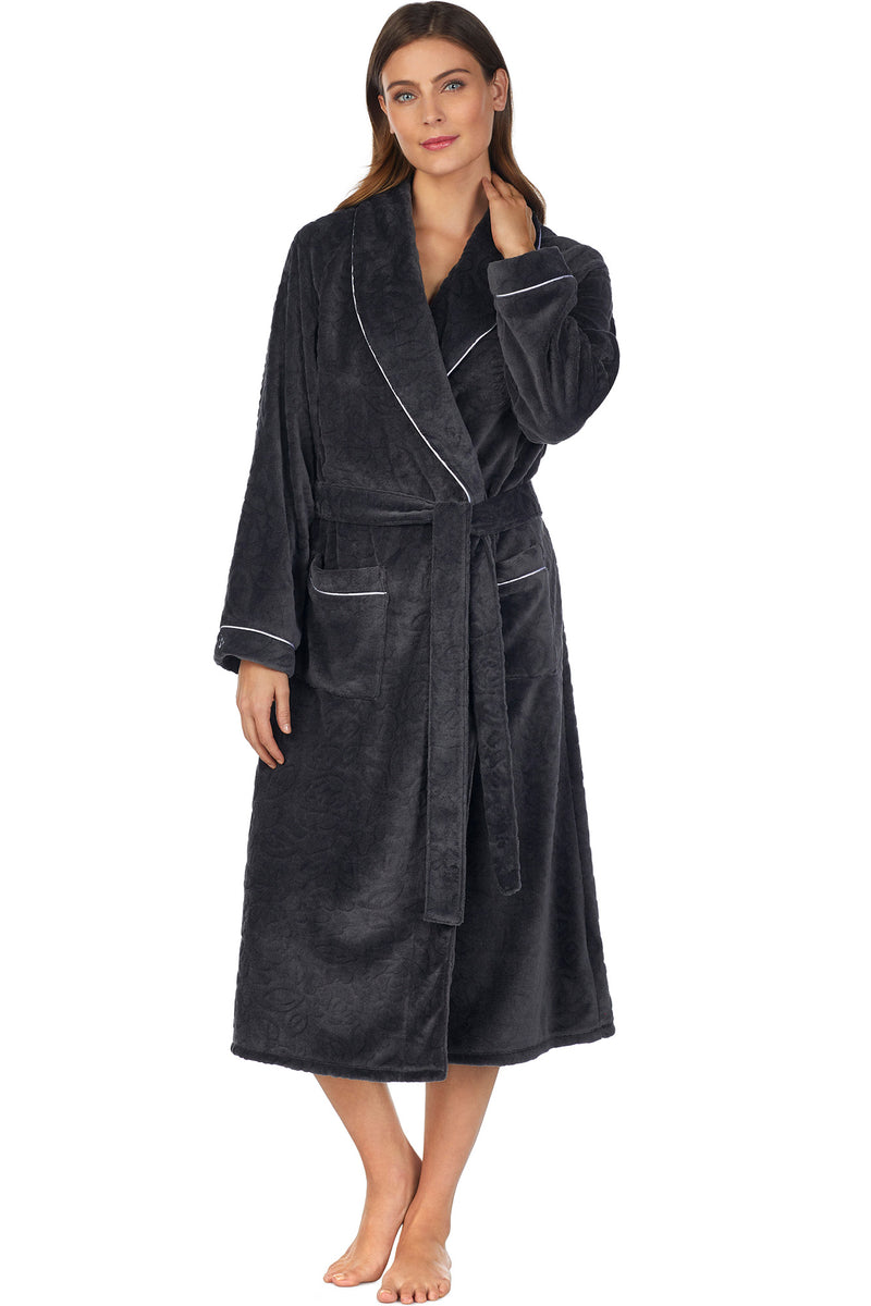 SCULPTED ROSE WRAP ROBE-CHARCOAL