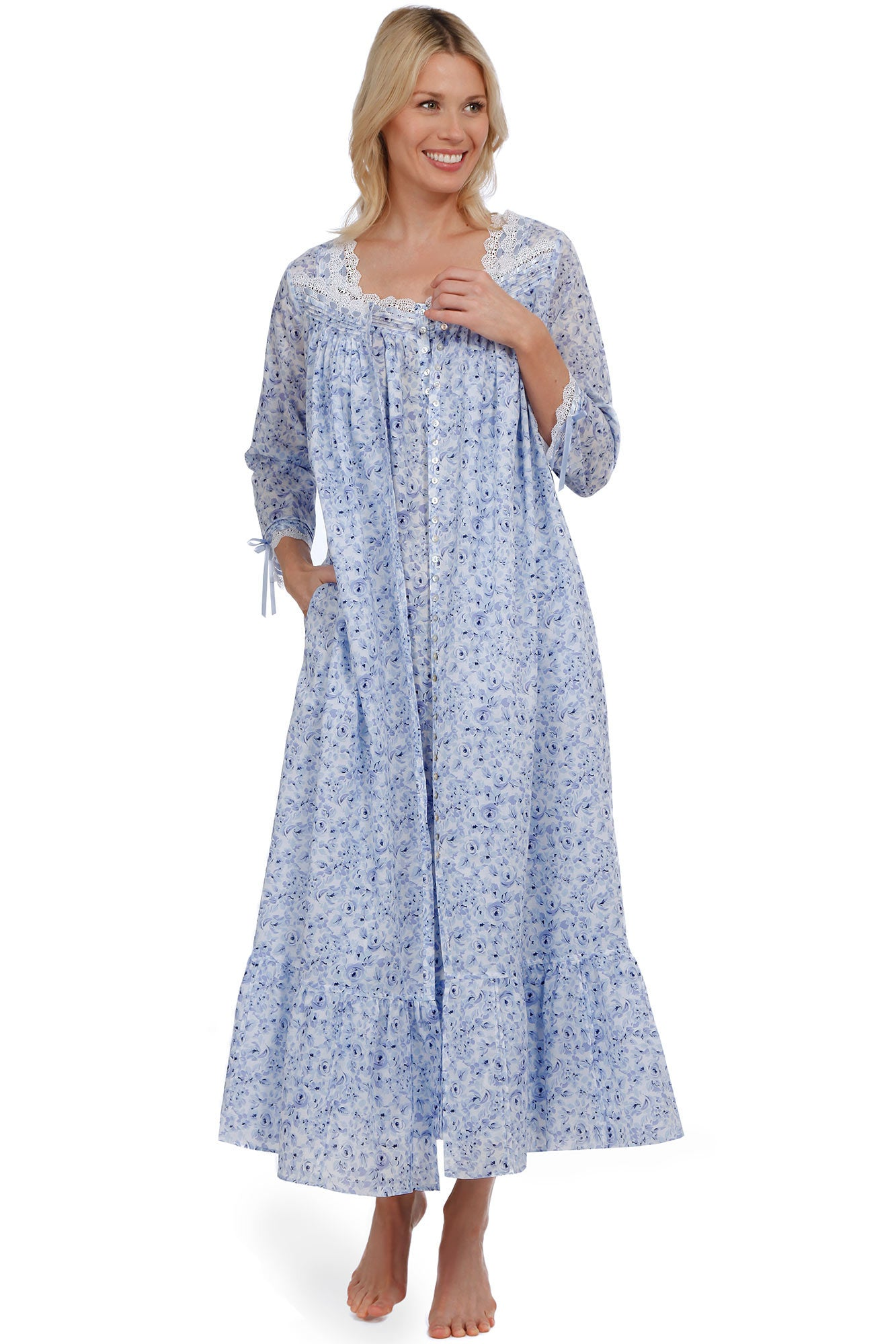 Watercolor Rose Button-Front Robe