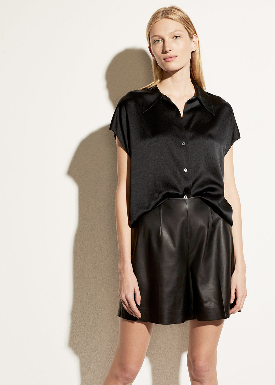 Vince Shaped Collar Cap Sleeve Blouse