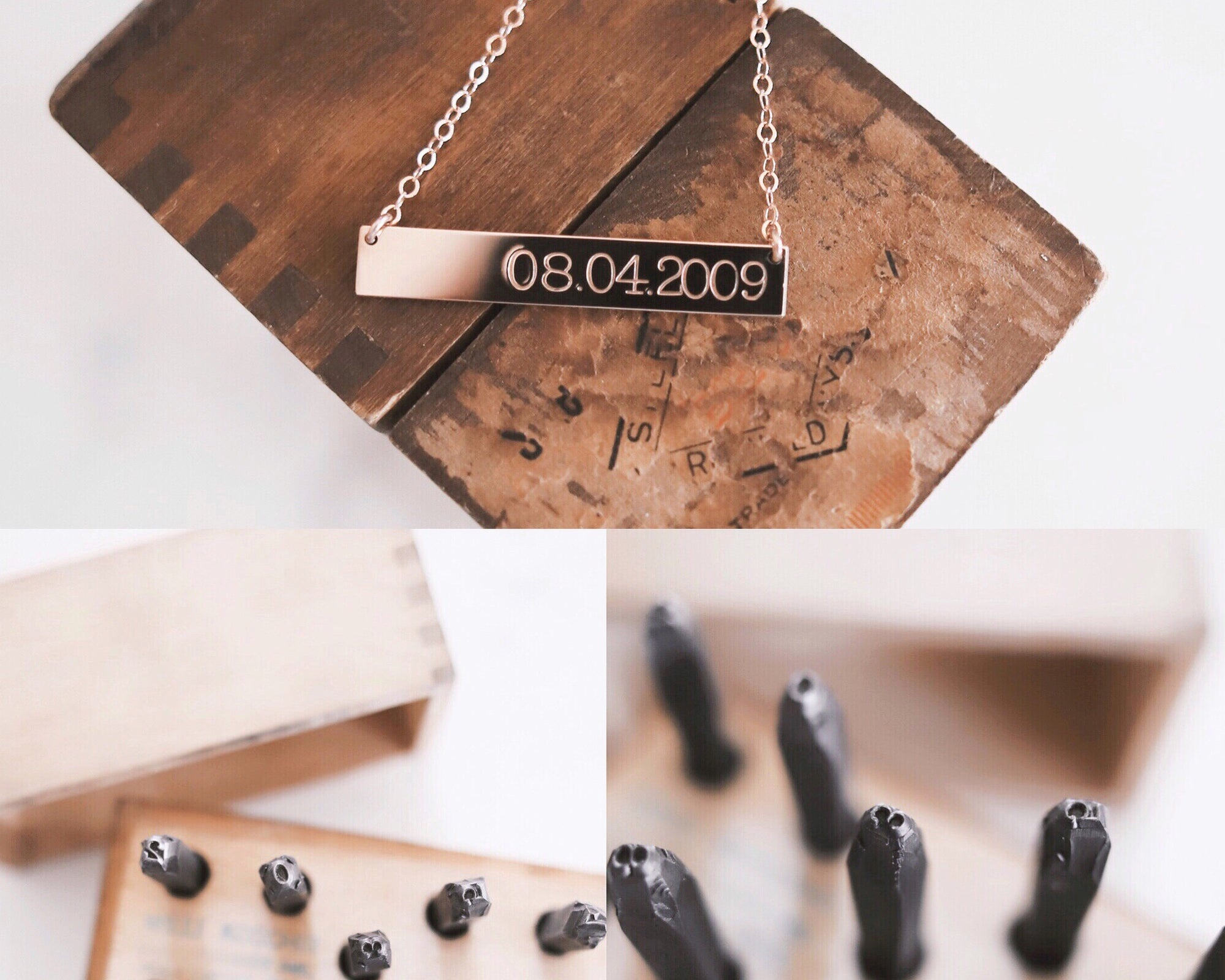 Vintage Stamps Date Bar Necklace