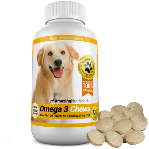 Amazing Omega-3 Rich Fish Oil For Dogs - Promotes Shiny Coat, Healthy Joints and Heart