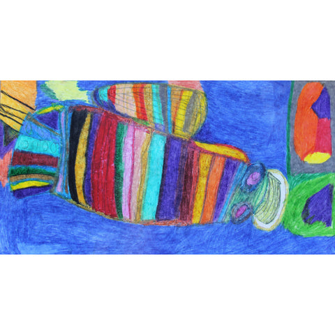 Lobster in the Sea, a colourful artwork by Nina artist Desiree McCook