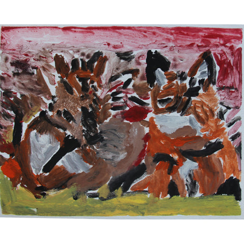 Foxes - monoprint by Nina artist Heather Boulton