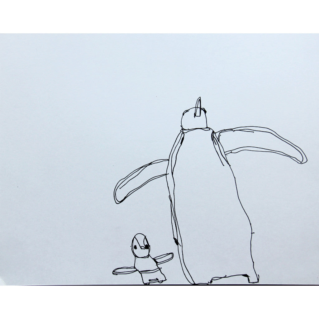 Line drawing of two penguins