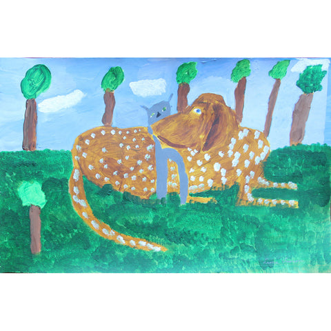 Brown spotted dog and little gray cat in the grass - painting by Leona Clawson