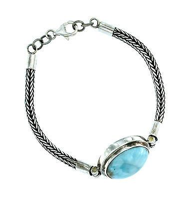 .925 Sterling Silver Rounded Woven Mesh Bracelet with Blue Larimar Stone