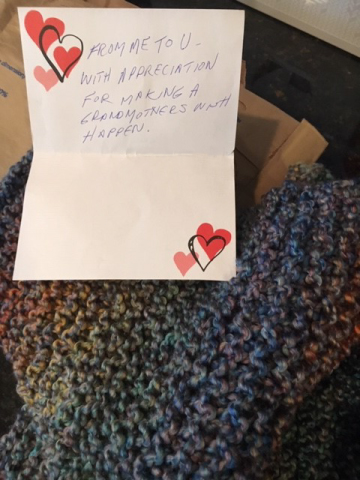 Customer appreciation letter and handmade scarf