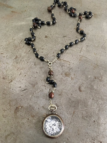 Vintage Gunmetal WW1/WW2 Pocket Watch with Clear Crystals & Vintage Wood Rosary Bead Necklace