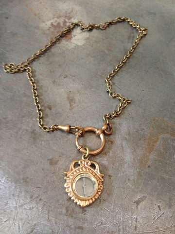 Vintage Gold Mini Compass Fob Necklace