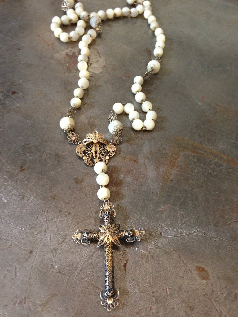 Vintage mother of pearl & gold filigree Cross Rosary necklace