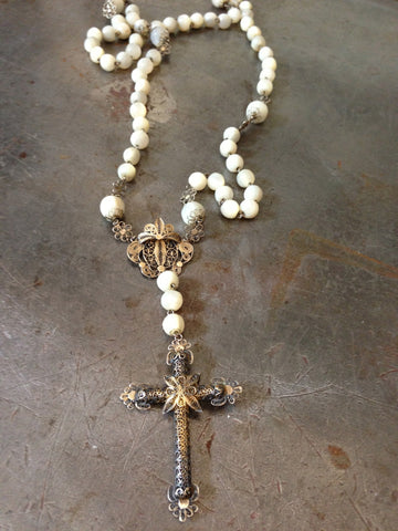 Vintage Mother of Pearl Gold Filigree Rosary Necklace