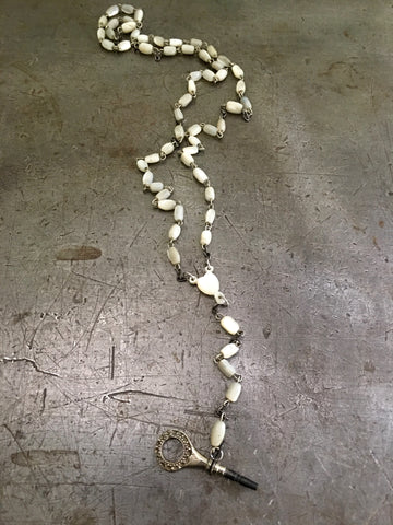 Vintage Mother of Pearl Rosary & Pocket Watch Key Necklace