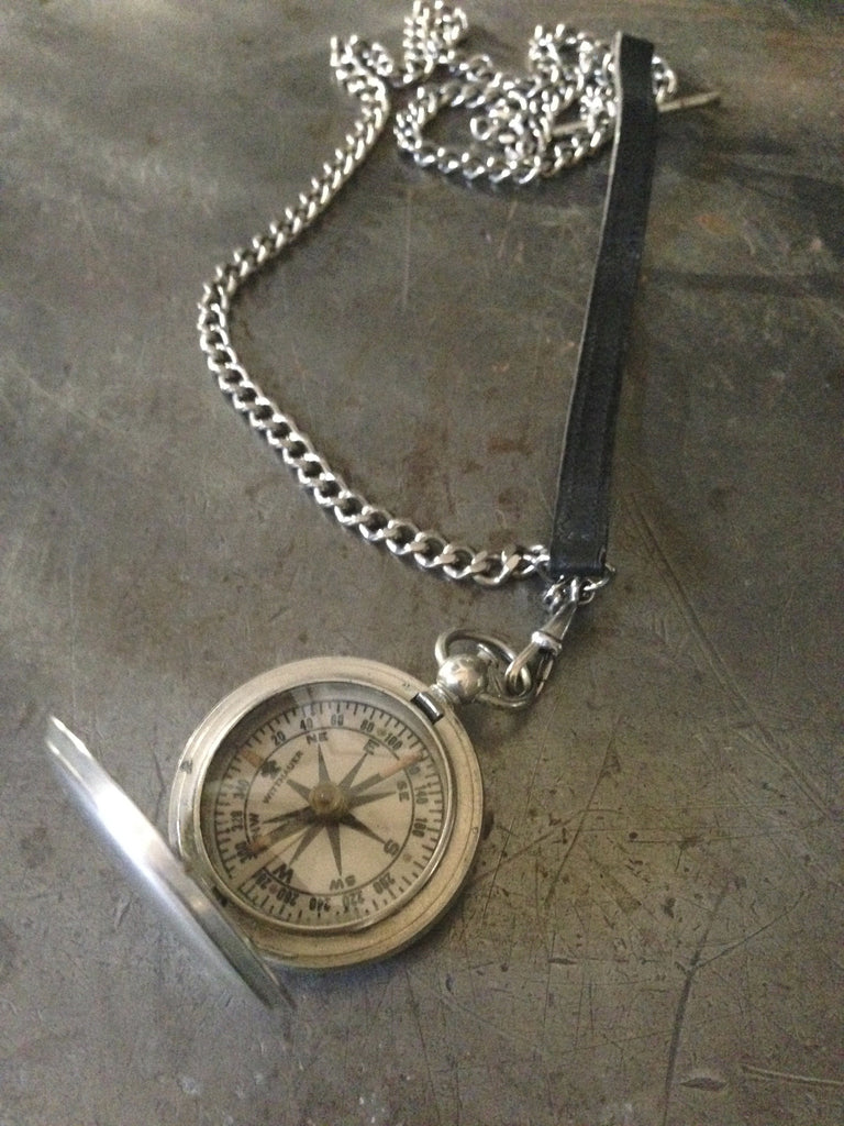 Vintage silver WW2 military compass on silver chain & vintage leather pocketwatch strap & dog clip necklace