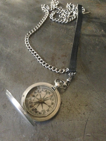 Vintage Silver US Military Compass & Leather Necklace