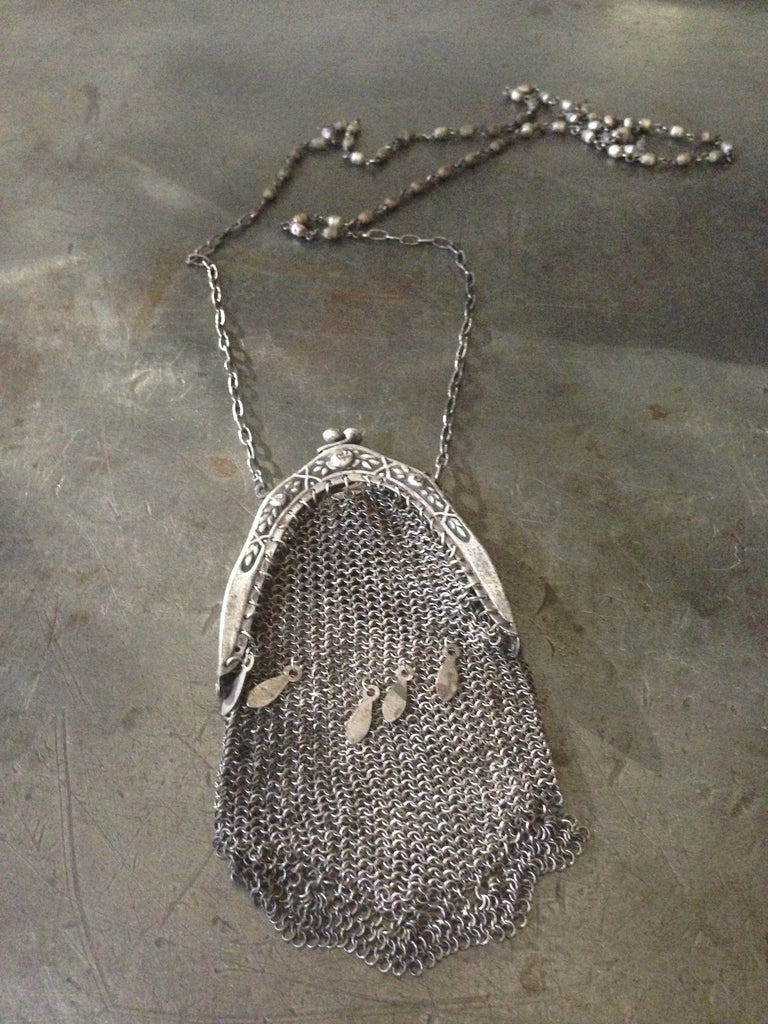 Vintage Victorain large silver mesh coin purse on vintage silver military Rosary bead necklace