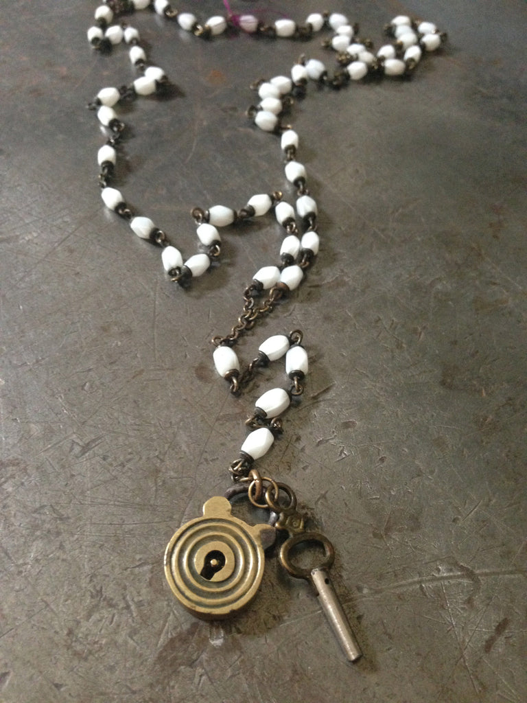 Vintage white rosary beads with vintage brass lock & key necklace