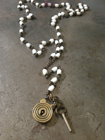 Vintage White Rosary with Lock & Key Necklace