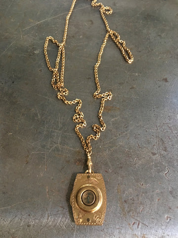 Vintage Gilt Gold Compass & Magnify Glass Fob Necklace