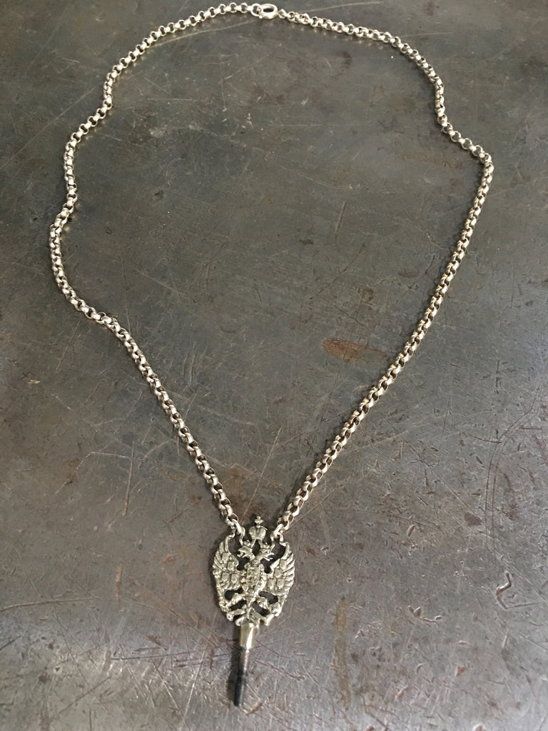 Vintage Silver Crest Ornate Pocket Watch Key on Vintage Silver Chain Necklace