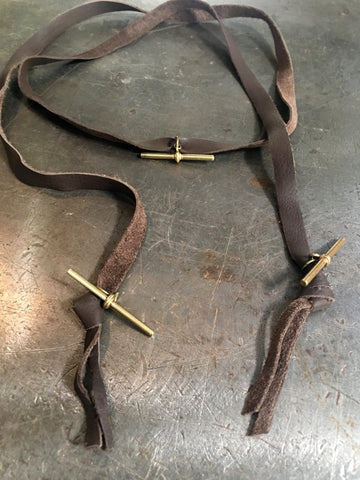 Brown Leather Wrap With Vintage Gold T-Bar Fobs