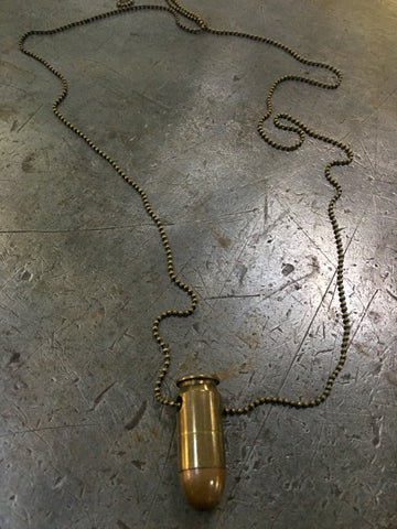 Vintage Brass Military Bullet Necklace