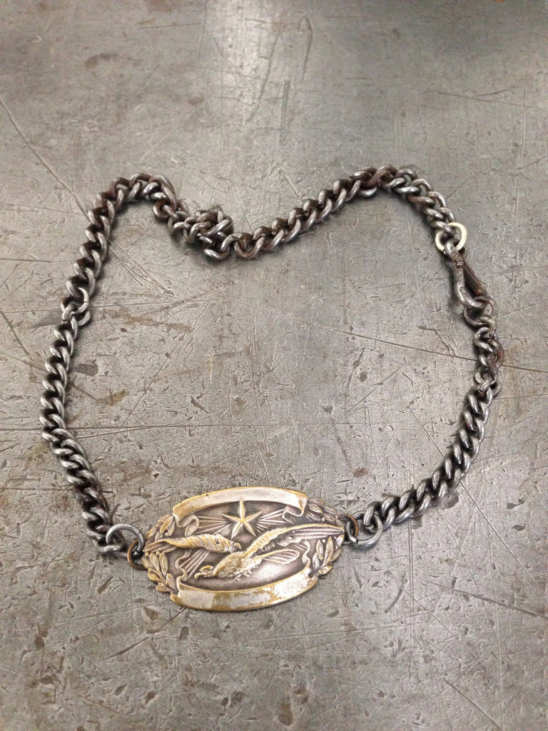 Vintage WW1 silver metal dogtag necklace