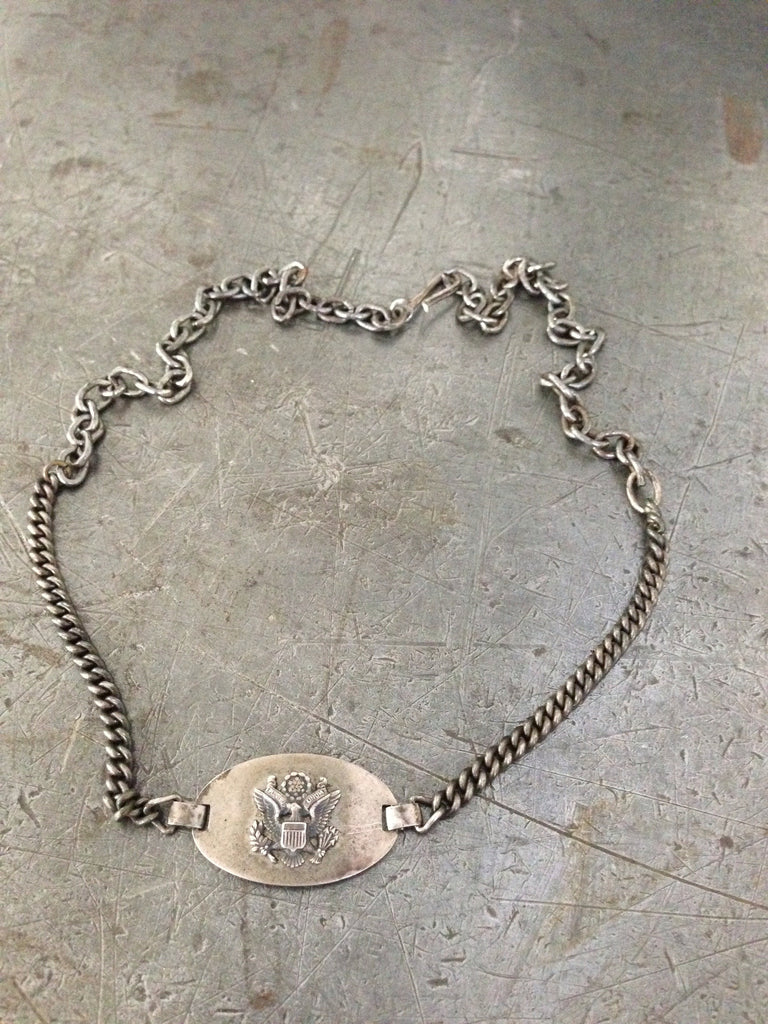 Vintage silver WW2 sweetheart bracelet necklace